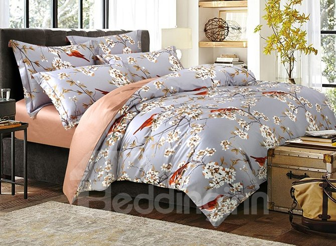 Fabulous Magpie and White Flower Print 4-Piece Cotton Bedding Sets