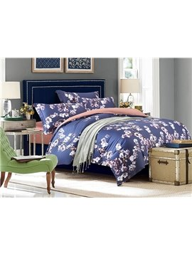 Pretty White Flowers Print 4-Piece Cotton Duvet Cover Sets