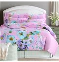 Dreamy Chic Flowers Print Pink 4-Piece Cotton Duvet Cover Sets