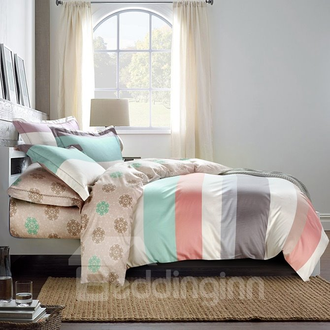Silky Elegant Stripe Print 4-Piece Cotton Duvet Cover Sets