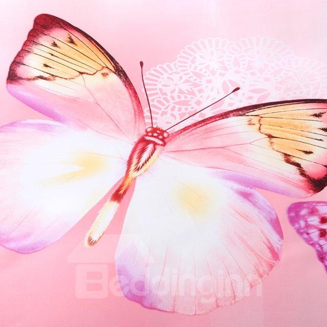 Dreamlike Colorful Butterflies Print Pink 4-Piece Cotton Duvet Cover Sets