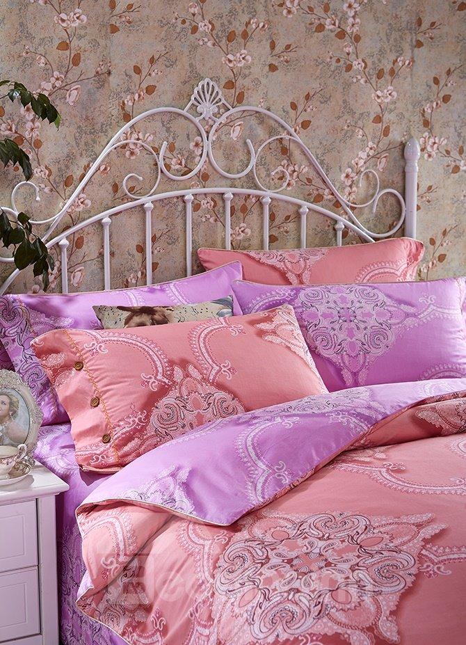 Chic Noble Pattern Print Pink 4-Piece Cotton Duvet Cover Sets
