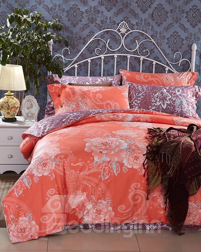 Characteristic Western Style Reactive Printing 4-Piece Cotton Duvet Cover Sets