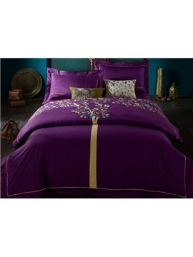 Unique Wonderful Tree Embroidery Purple 4-Piece Cotton Duvet Cover Sets