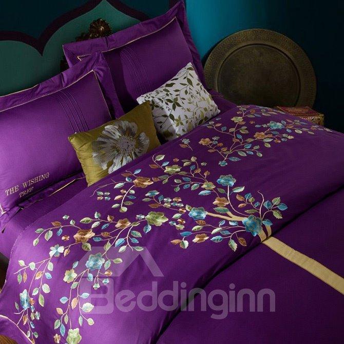 Unique Wonderful Tree Embroidery Purple 4-Piece Cotton Duvet Cover Sets