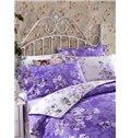 Retro Flower Print Purple 4-Piece Cotton Duvet Cover Sets