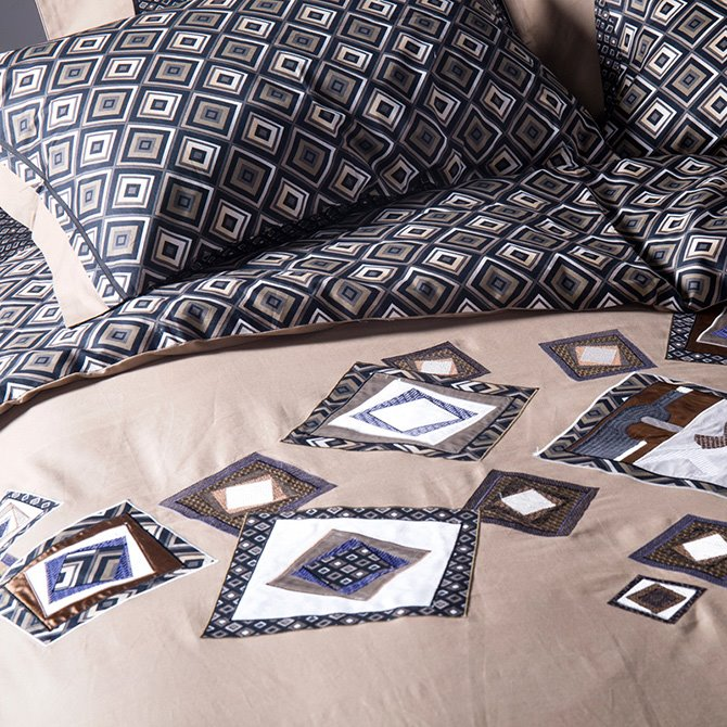 Classical Rhombus Design Embroidery 4-Piece Cotton Duvet Cover Sets