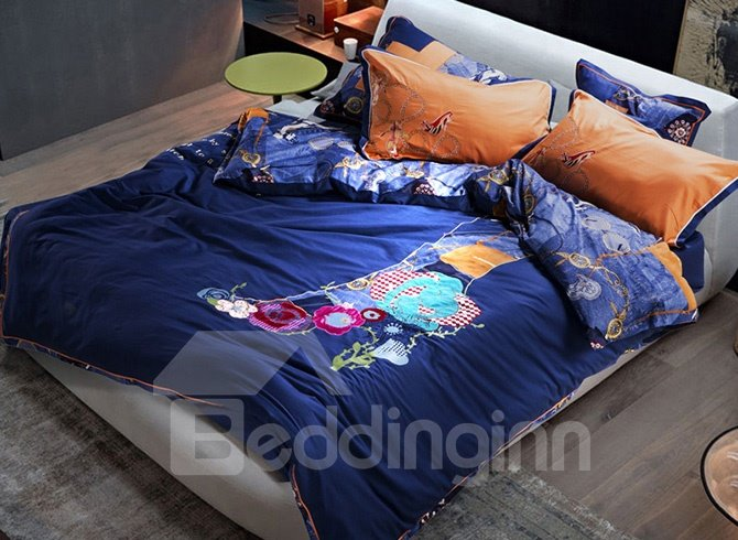 Chic High-heeled Shoe with Beautiful Flowers Embroidery 4-Piece Cotton Duvet Cover Sets