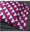 White and Red Heart Print Purple Background 4-Piece Cotton Duvet Cover Sets
