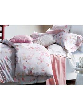 Romantic Pink Petal Design 4-Piece Cotton Duvet Cover Sets