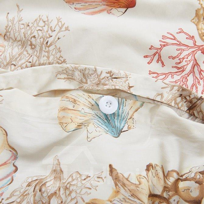 Beautiful Marine Life Print 4-Piece Cotton Duvet Cover Sets