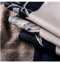 Glamorous White Flower Design Dark Blue 4-Piece Cotton Duvet Cover Sets