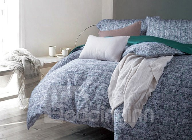 Special Design Abstract Pattern Blue 4-Piece Cotton Duvet Cover Sets