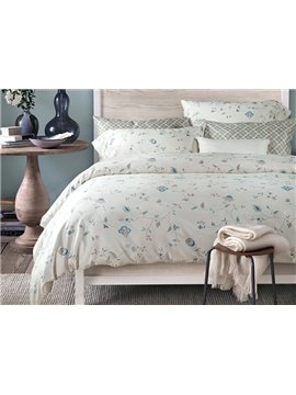 Stylish Flower Pattern 4-Piece Cotton Duvet Cover Bedding Sets