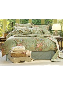 Fashion Modern Flower Print Light Green 4-Piece Cotton Duvet Cover Sets