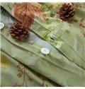 Fashion Modern Flower Print Light Green 4-Piece Cotton Duvet Cover Sets