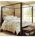 Chic Leaves and Flowers Pattern Print Cotton 4-Piece Duvet Cover Sets