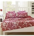 Faddish Chic White Flowers Red Background 4-Piece Cotton Bedding Sets