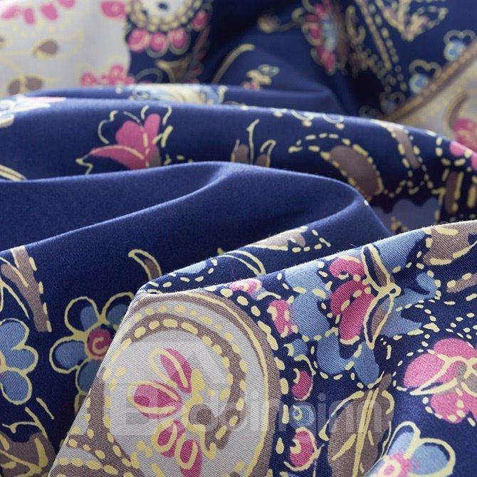 Unique Personality Pattern Purple 4-Piece Cotton Bedding Sets