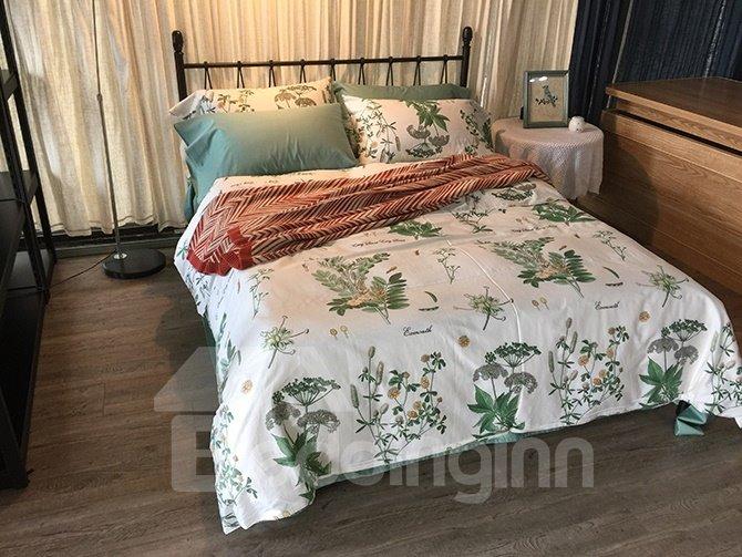 Fresh Vivid Flower Branch 4-Piece Cotton Bedding Sets