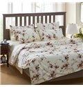 Super Soft Adorable Flowers Print White 4-Piece Cotton Bedding Sets