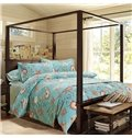 Charming Sea World Print Blue 4-Piece Cotton Bedding Sets
