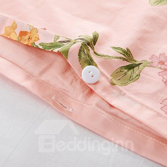 Noble Fresh Flowers Design Pink 4-Piece Cotton Duvet Cover Sets