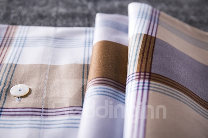 Pure Cotton Concise Plaid 4-Piece Bedding Sets
