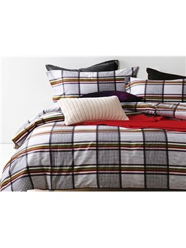 Classical Neutral Plaid 4-Piece Cotton Bedding Sets