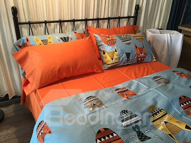 Adorable Cartoon Cats Blue 4-Piece Cotton Bedding Sets