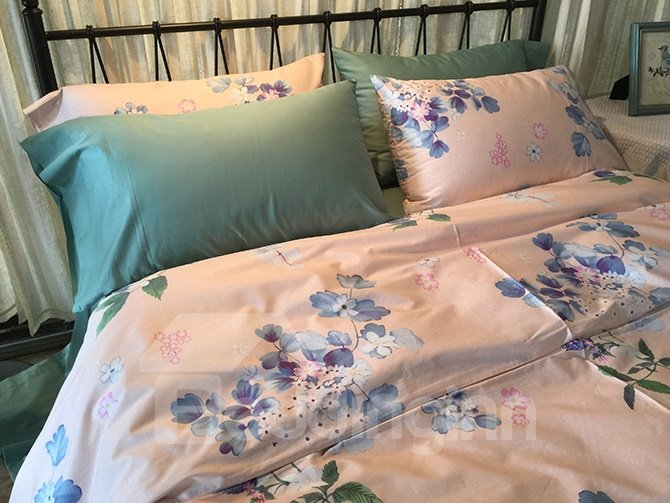 Exquisite Charming Flowers Pink 4-Piece Cotton Bedding Sets