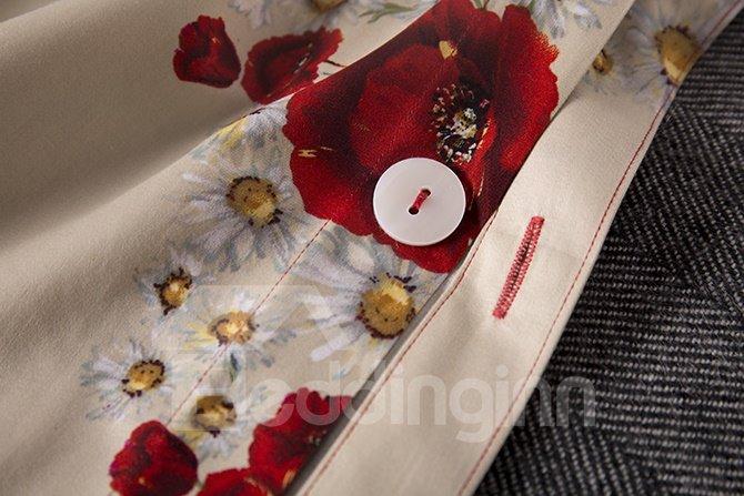 100% Cotton Amazing Red Flowers Print Ripple Design 4-Piece Bedding Sets