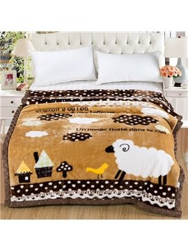 Super Cute Sheep Print Comfortable Flannel Blanket