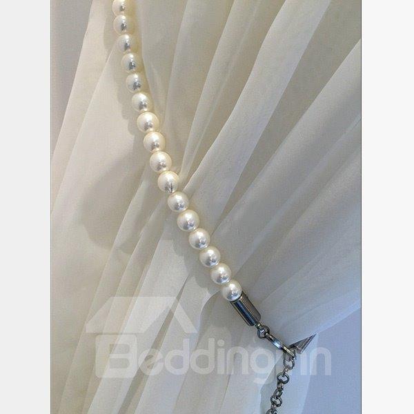 Chic White Pearls Decorative Curtain Tiebacks