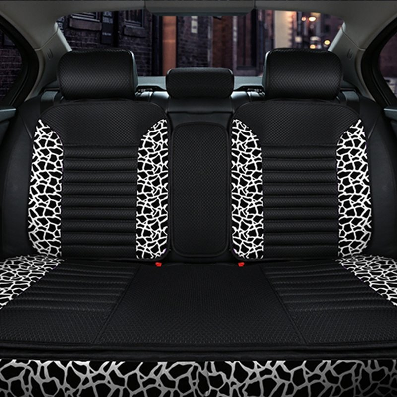 Beautiful And Charming Leopard Embroidery Style Universal Five Car Seat Cover