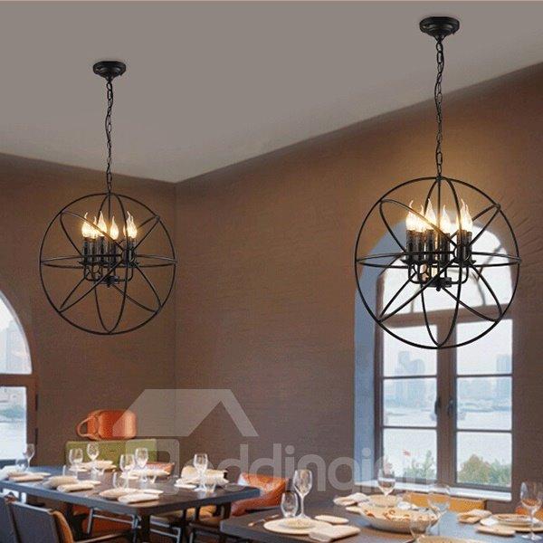 Simple Classic Black Round Iron Art 6 Bulbs Ceiling Light