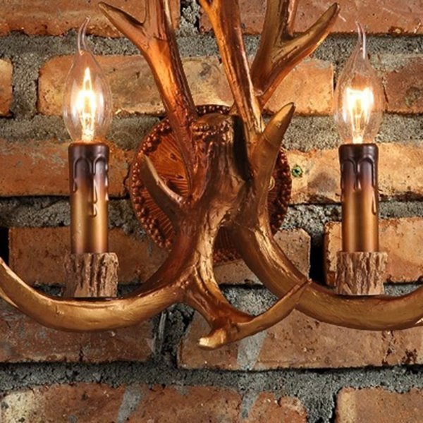 Brown Resin Two Antlers Countryside Style Wall Light