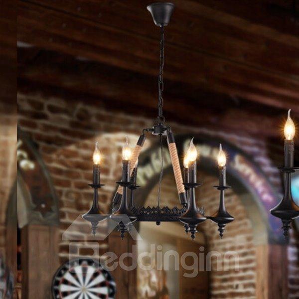 Classic European Style Hemp Rope Ceiling Light