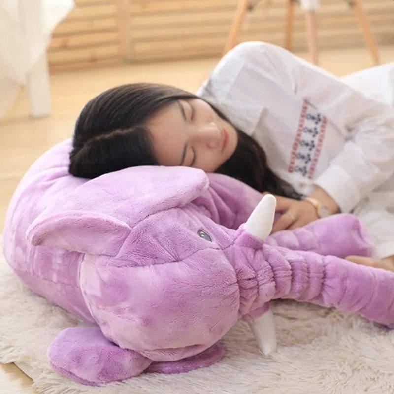 Super Cute Long Nose Elephant Grey Soft Plush Pillow