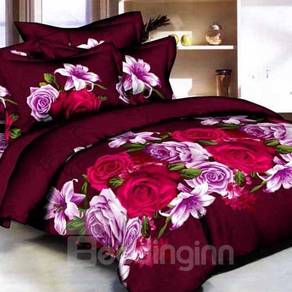 Fancy Red and Purple Roses Print Pure Cotton 3D Fitted Sheet