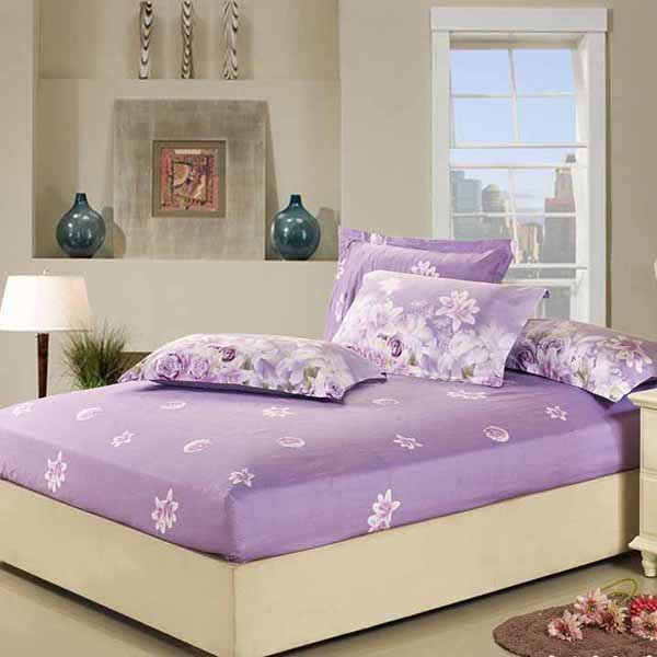 Romantic Rose and Lily Blossom Print Purple Fitted Sheet