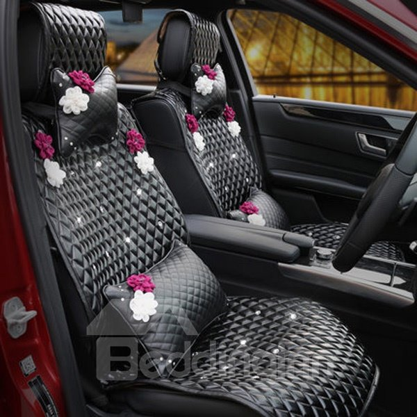 Top Selling Luxurious Classic Black With Beautiful Flower Leather Car Seat Cover