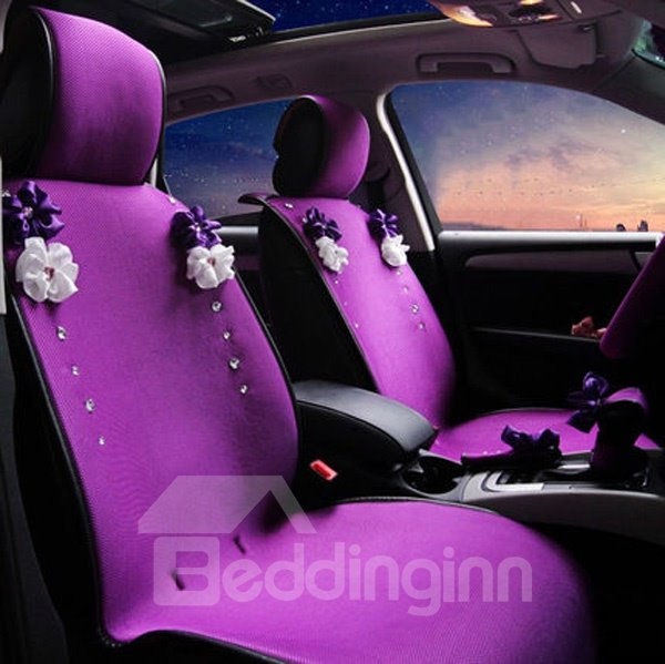 beautiful and charming purple style with flower universal car seat cover. Black Bedroom Furniture Sets. Home Design Ideas