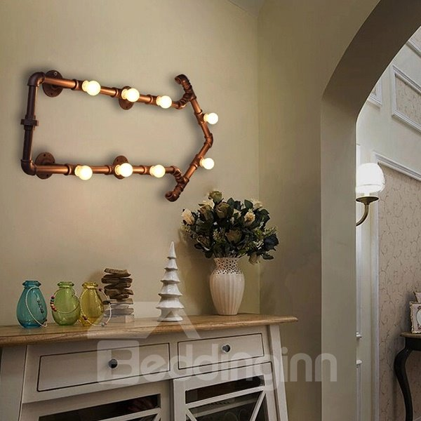 8 Bulbs Creative Arrow Water Pipe Decorative Wall Light