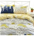 Minimalist Style Reversible Cityscape and Umbrella Print 4-Piece Cotton Bedding Sets