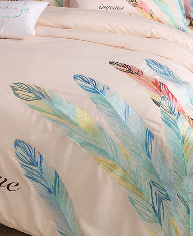Chic Feather Print Pure Cotton Peach 4-Piece Bedding Sets
