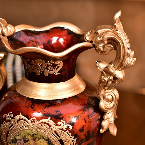 Hot Selling European Court Style Red Ceramic and Resin Flower Vase