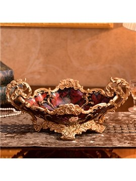 Classic European Style Red Painted Ceramic and Resin Desktop Decoration
