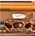 Amazing Red Flower Decorative Ceramic Tissue Box Desktop Decoration