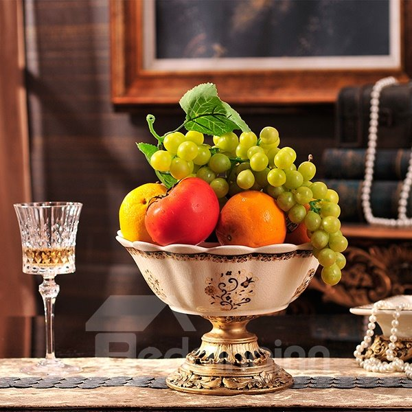 Luxury European Style Ceramic Fruit Plate Desktop Decoration